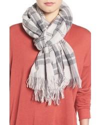 Eileen Fisher Soft Wool Cashmere Plaid Scarf