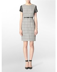 Grey Plaid Shift Dress