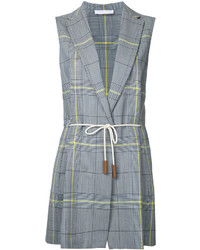 Drawstring plaid sleeveless blazer medium 3743293