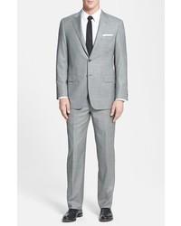Hickey Freeman Beacon Classic Fit Plaid Suit Light Grey 46l