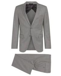Hugo Boss Nortanbenno Slim Fit Wool Plaid Suit 42l Grey