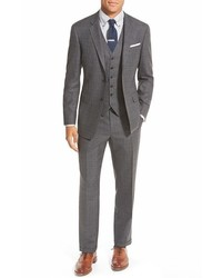 Grey Plaid Three Piece Suit