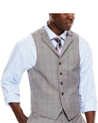Collection Collection By Michl Strahan Light Gray Plaid Suit Vest Classic Fit