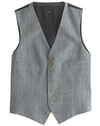 Suit vest in glen plaid italian wool linen medium 34127