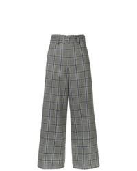 Grey Plaid Wide Leg Pants