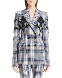 Grey Plaid Wool Blazer