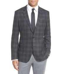 BOSS Hutch Trim Fit Plaid Wool Sport Coat