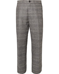 Grey Plaid Wool Dress Pants