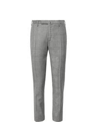Incotex Black Slim Fit Prince Of Wales Checked Wool Twill Trousers