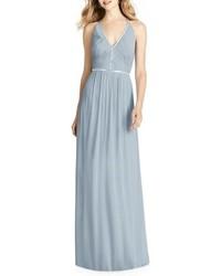 Grey Pleated Chiffon Evening Dress