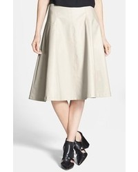 ASTR Faux Leather A Line Midi Skirt Light Grey X Small