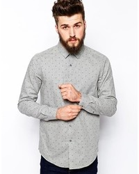 Brand smart shirt in long sleeve with marl polka dot medium 136133