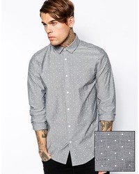 Brand smart shirt in long sleeve with chambray polka dot medium 130284