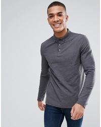 ASOS DESIGN Long Sleeve Pique Polo With Collar In Grey
