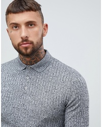 ASOS DESIGN Long Sleeve Polo Shirt In Heavy Rib