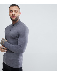 ASOS DESIGN Longline Muscle Fit Jersey Long Sleeve Polo In Grey