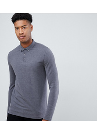 ASOS DESIGN T Sleeve Pique Polo With Collar In Grey