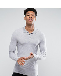 ASOS DESIGN T Sleeve Polo In Grey Marl Marl