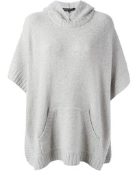 Ralph Lauren Black Hooded Knitted Poncho