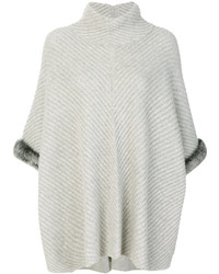 N.Peal Fur Trim Ribbed Poncho