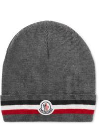 Moncler Logo Appliqud Striped Ribbed Virgin Wool Beanie