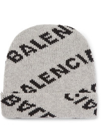 Balenciaga Logo Jacquard Virgin Wool And Camel Hair Blend Beanie