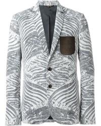 Grey Print Blazer