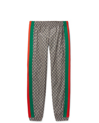 Gucci Webbing Trimmed Logo Print Shell Drawstring Trousers