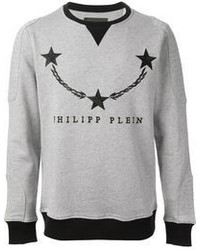 Grey Print Crew-neck Sweater