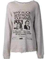 Grey Print Crew-neck Sweater