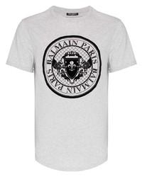 Balmain Coin Logo Curve Hem T Shirt