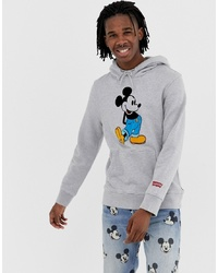 Levi's Mickey Mouse Print Hoodie In Grey Marl