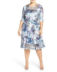 Komarov Print Lace Charmeuse Keyhole Neck Fit Flare Dress