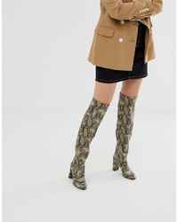 New Look Over The Knee Heeled Boot In Snake