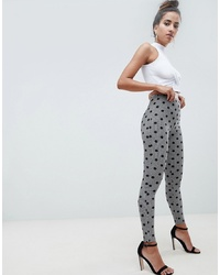 ASOS DESIGN Leggings In Houndstooth Check With Spot Print