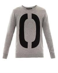 Grey Print Oversized Sweater
