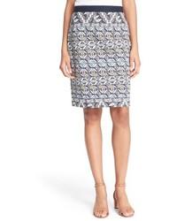 Tory Burch Tile Print Ponte Knit Pencil Skirt