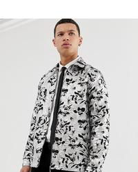 ASOS Edition Tall Silver And Black Floral Jacquard Overshirt