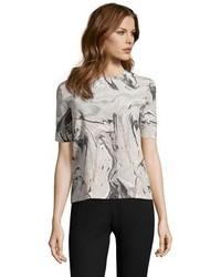 Grey Print Short Sleeve Blouse