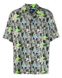 Brain Dead Snail Print Bowling Shirt