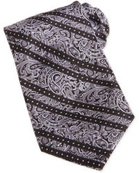 Paisley print striped woven silk tie gray medium 85126