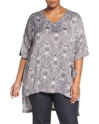 Grey Print V-neck T-shirt