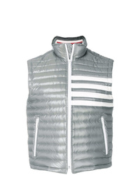 Thom Browne 4 Bar Stripe Downfill Quilted Funnel Neck Vest In Satin Finish Tech