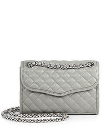 Grey Quilted Leather Crossbody Bag