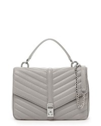 Grey Quilted Leather Satchel Bag