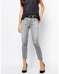 A Gold E Agolde Sophie High Rise Ankle Grazer Skinny Jeans With Ripped Knee
