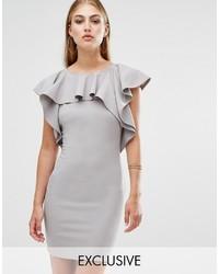 Grey Ruffle Sheath Dress