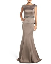 Grey Satin Evening Dress
