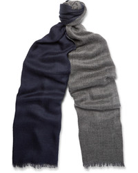 Duo Two Tone Cashmere And Silk Blend Scarf