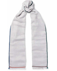 Loro Piana Fringed Contrast Trimmed Cashmere Silk And Hemp Blend Scarf